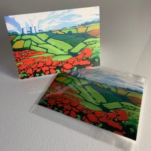 Didcot powerstation flowers - greeting card
