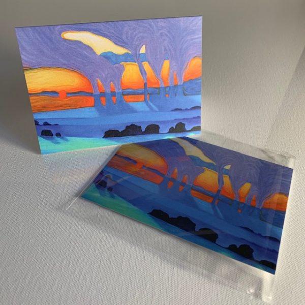 Didcot powerstation sunrise - greeting card