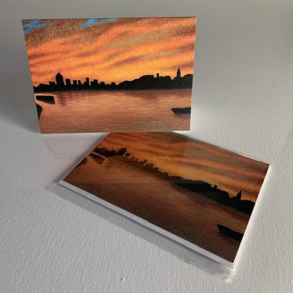 Wapping sunrise - greeting card